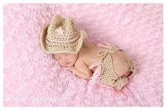 Crochet Cowgirl hat and chaps in tan and baby pink. Cowgirl baby girl photo prop hat and chaps. on Etsy, $40.00
