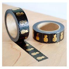 masking tape noir ananas dorés washi tape black pineapple gold