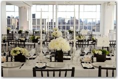 White table with black chairs.