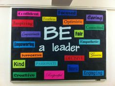 Bulletin board with traits residents described for a good leader. Bulletin boards, Resident Advisor, Resident Assistant, ResLife, Residence Life