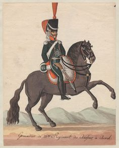Grenadier du 26e Regiment des Chasseurs è Cheval 1808 One of a collection of 98 unsigned original watercolors of uniform figures in outdoor backgrounds, possibly by Weiland; inlaid and bound in album. Figure in green on gray/brown horse facing right.