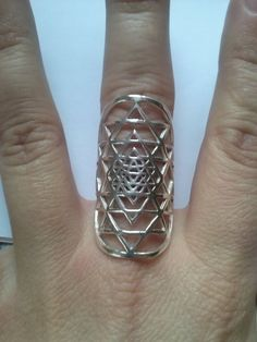 Sri Yantra ring in sterling silver sacred geometry by KIANZO