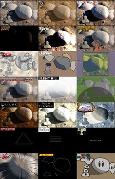 What rocks look like in various video games from the 80's through today.