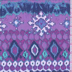 Purple/White/Blue Southwest Crinkled Chiffon, Fabric By The Yard Ticking Fabric, Muslin Fabric, Chiffon Fabric, Gorgeous Fabrics, Fashion Fabric, White Fabrics, Crinkles, Leaf Prints, Green And Purple