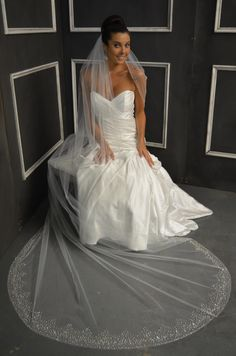Beautifully Beaded Cathedral Wedding Veil Elena Designs E1153L with baby pearls and rhinestones - Affordable Elegance Bridal -