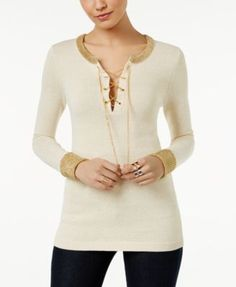 MICHAEL Michael Kors Lace-Up Sweater | macys.com