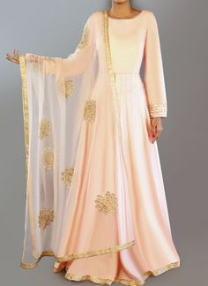 Blush Dhupioni Silk Anarkali is on dhupioni silk fabric and features a santoon inner and bottom alongside a net dupatta. Embroidery work is completed with zari and stone embellishments. Pakistani Fashion Casual, Pakistani Outfits, Indian Outfits, Indian Fashion, Indian Clothes, Punjabi Fashion, Designer Anarkali, Eid Outfits, Bridal Outfits