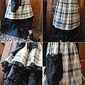 Mlle florestine: robe chasuble, jupon noir en organdi, bottine trippen, echarpe en laine