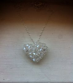 Puffy glass crystal heart necklace on Etsy, $15.00