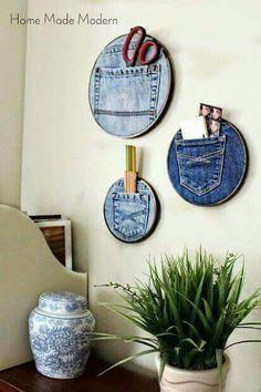 Cute! Old jeans & hoops.