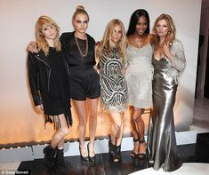 Stellar line-up: Kate Moss ensured she was surrounded by a rather super line-up of fellow catwalk queens (L-R) Suki Waterhouse, Cara Delevingne, Sienna Miller and Naomi Campbell as she hosted a star-studded dinner at London's The Connaught Hotel on Tuesday night