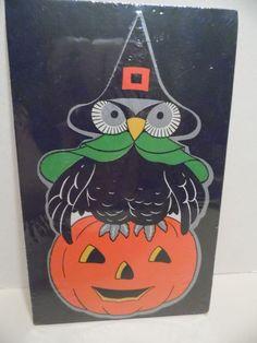 Vintage Halloween Gibson Paper Die Cut Owl Witch Hat JOL Decoration 1940's USA