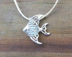 Sea Glass Angel Fish Necklace Silver Pale Aqua Genuine Beach Glass Tropical Summer by WaveofLIfe