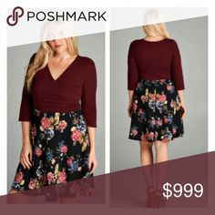 """(Plus) Floral Dress Floral wrap dress. Very stretchy and very TTS (I'm a 2x/16 and the 2x fit like it was made for me!). Bust measurements are laying flat – they easily stretch well beyond that 1x: L  40"""" B 40""""  2x: L 40"""" B 42""""  3x: L 41"""" B 44"""" ⭐️This item is brand new from manufacturer without tags.  🚫NO TRADES 💲Price is firm unless bundled 💰Ask about bundle discounts Availability: 1x•2x • 2•1 Dresses"""