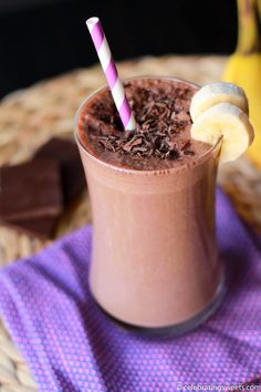 Skinny Chocolate Peanut Butter Banana Smoothie Recipe ~ A rich and creamy smoothie... a perfect combination of chocolate, peanut butter and bananas
