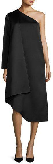 SOLACE London Idelle Asymmetric Satin Swing Dress, Black