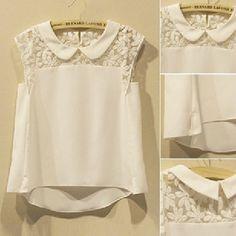 New 2014 Summer Plus Size XXXL White Flower Peter pan Collar Sleeveless Women Fashion Lace Chiffon Shirt Top Ladies Blouse