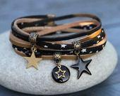 Bracelet cordon tissu et cuir 2 tours étoile noir bronze et or : Bracelet par lillicrapote