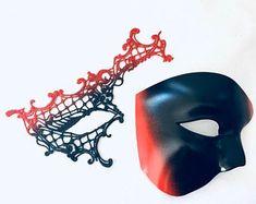 Masquerade Mask Women, Couples Masquerade Mask from USA by HigginsCreek Couples Masquerade Masks, Masquerade Ball, Costume Birthday Parties, Carnival Festival, Hand Designs, Mardi Gras, Halloween Party, Etsy Seller, Usa