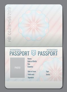 Blank open passport template isolated ve... | Premium Vector #Freepik #vector #vintage #travel #design #template Passport Invitations, Passport Stamps, Passport Template, Charity Branding, Make Your Own Story, Canadian Passport, Passport Number, Boarding Pass Invitation, Violet Evergarden Anime