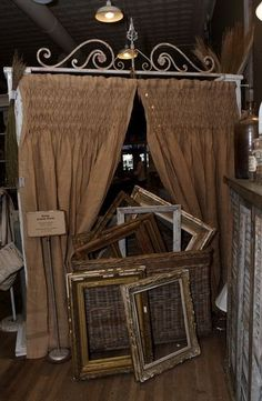 Image result for curtains with antique booth display