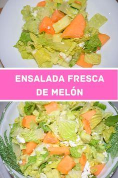 Cómo preparar una ensalada de melón y queso de cabra con pepino y lechuga. Un primer plato o guarnición fresco, saludable y muy fácil.