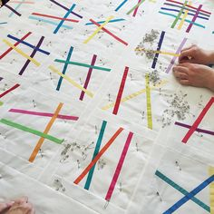 #quiltsunday is one of the best reminders of how special our little community is @_theworkroom - group basting is one of the perks. (Pick up sticks quilt by Adrienne)