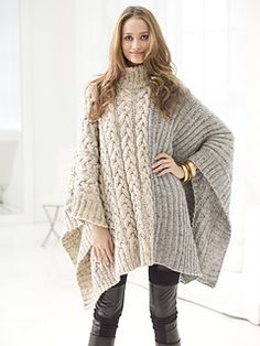 "From the Lion Brand website: ""Practice your ribbing and cables with this fashionably chic poncho made with Vanna's Choice®."""