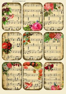 Penniwigs: Free Graphics, Printables, Paper Fun, Lore and More: Music Tags / Collage Sheet Free Printable Vintage Tags, Vintage Labels, Vintage Ephemera, Decoupage Vintage, Decoupage Paper, Vintage Paper Crafts, Sheet Music Crafts, Sheet Music Art, Music Paper