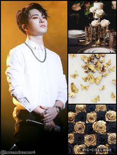 Youngjae Black White Gold Aesthetic
