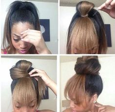 Top knot with bang