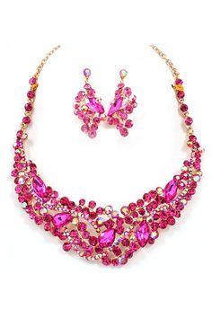 Emmaline Crystal Statement Necklace Set in Tourmaline