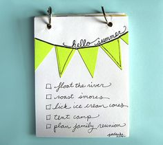 Make your summer bucket list as a flip book... decorate with bunting