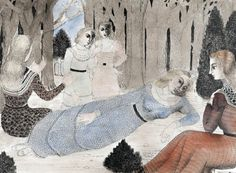 Paul Delvaux (Belgian, 1897-1994), Hommage à la reine des forêts [Homage to the queen of forests], 1964. Watercolour and ink drawing, 53.5 x 72.5 cm