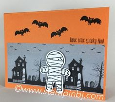 Super cute Halloween cards & treat using the Cookie Cutter Halloween stamp set. See how you can get this free tutorial on my blog! #stampinbj.com