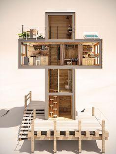 Casa creata dall'artista Dachi Papuashvili rivestita in #legno, ecologica e ad…