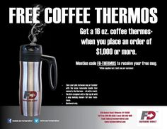 "Get your coffee fix with our FREE 16 ounce, stainless steel FD thermos!  Details:  To receive your free FD coffee thermos, customer must place a minimum order of $1,000. When order, mention the promotional code ""FD Thermos"" to your salesman.  While supplies last.  Coffee Thermos Info: Size: 16 ounces Stainless steel interior/exterior Removable handle  Hand wash only. #fastenersdirect #fastenersdirectnews #fastenersdirectcoffeethermos #free #coffee #coffeethermos"