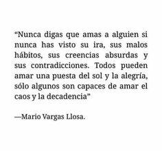 «Nunca digas que amas a alguien si nunca has visto su ira, sus malos hábitos, sus creencias absurdas y sus contradicciones. Todos pueden amar una puesta de sol y la alegría, sólo algunos son capaces de amar el caos y la decadencia.» Mario Vargas Llosa