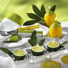 Lemon & Lime table decor. Don't forget the lemonade with a couple cherries for a pop.