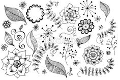 Doodles Flowers collection Royalty Free Stock Photo