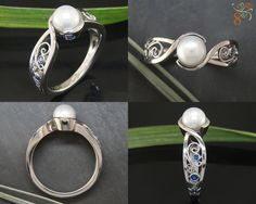 Any man can buy a diamond but a pearl is timeless and a treasure! Beautifully accented by the ocean esck saphairres from normal to find ur ring before the man? Pearl Jewelry, Jewelry Box, Jewelery, Modern Engagement Rings, Diamond Engagement Rings, Pearl Ring Design, Green Lake Jewelry, Ring Verlobung, Beautiful Rings