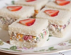 Salad Tea Sandwiches Fresh strawberries and mandarin oranges add a touch of sweetness to Strawberry–Chicken Salad Tea Sandwiches.Fresh strawberries and mandarin oranges add a touch of sweetness to Strawberry–Chicken Salad Tea Sandwiches. Tapas, Simply Yummy, Finger Sandwiches, High Tea Sandwiches, English Tea Sandwiches, Picnic Sandwiches, Breakfast Sandwiches, Sandwiches For Afternoon Tea, Bridal Shower Sandwiches