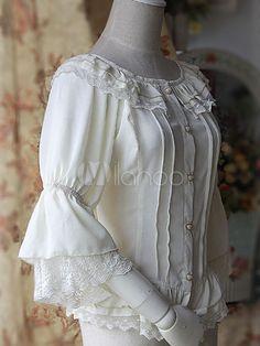 Lolitashow Lolita do Chiffon branco blusa Hime mangas rendas babados guarnição redonda colarinho