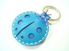 Leather Keychain  Penny the LadyBug  leather by leatherprince, $18.90
