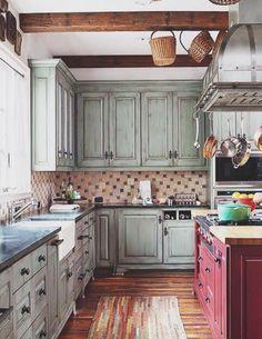 . Farmhouse Kitchen Cabinets, Farmhouse Style Kitchen, Kitchen Redo, Kitchen Styling, New Kitchen, Rustic Farmhouse, Rustic Cabinets, Antique Cabinets, Hickory Kitchen