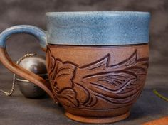 Denim and Leather 10 ounce Pottery Mug  Ready by RedParrotPottery, $35.00