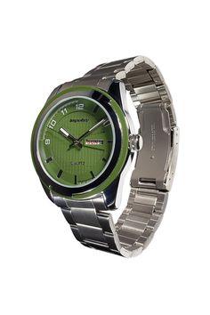 Green Face Stainless Steel Calendar Watch.