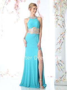 Sheath Jewel-Neck Sleeveless Jersey Zipper Dress With Split Front And Beading