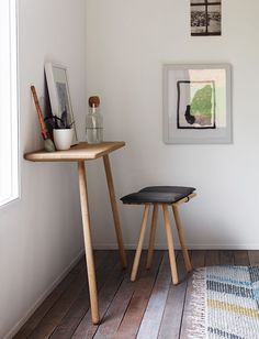 Small spaces can be tricky, but choose a few furnishings that work in multiple ways and you'll be as happy as a clam. Take this Georg Console and Stool by Christina Liljenberg Halstrøm, for i… Small Space Living, Small Spaces, Living Spaces, Living Room, Work Spaces, Space Saving Desk, Desk Space, Interiores Design, Interior Inspiration