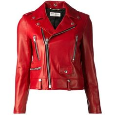 SAINT LAURENT classic biker jacket ($6,615) ❤ liked on Polyvore featuring outerwear, jackets, leather jackets, coats, tops, red, leather biker jackets, red jacket, biker jackets and genuine leather jackets